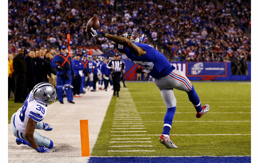 Odell Beckham z New York Giants w meczu przeciwko Dallas Cowboys w MetLife Stadium. Fot. Al Bello, USA, Getty Images