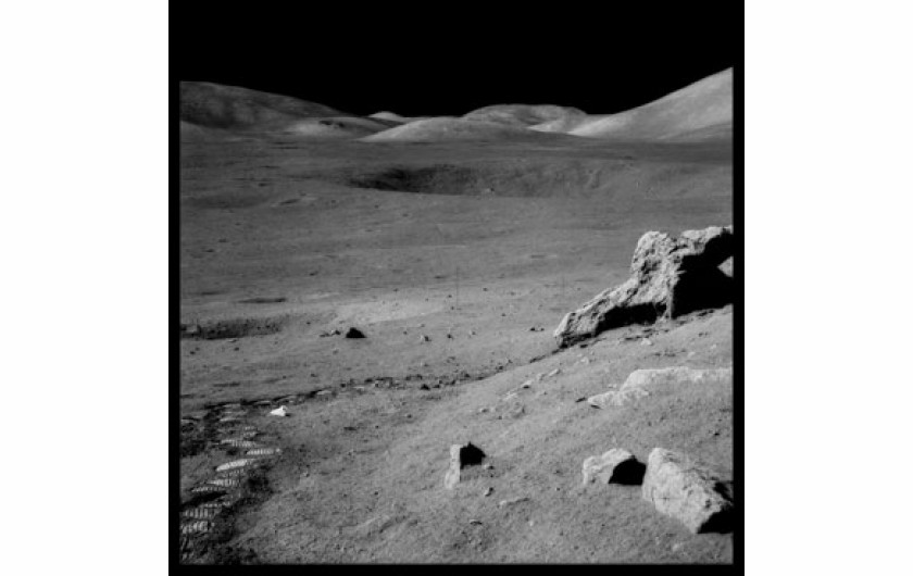 (c) 1999 Michael Light, The Valley of Taurus-Littrow From Split Rock, With Trash and Footprints;  Photographed by Harrison Schmitt, Apollo 17, December 7-19, 1972 Digital c-print; signed, titled, dated, editioned; 24.5x24.5; edition 50 Negative NASA; di