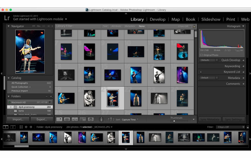 panel Library programu Adobe Lightroom 6
