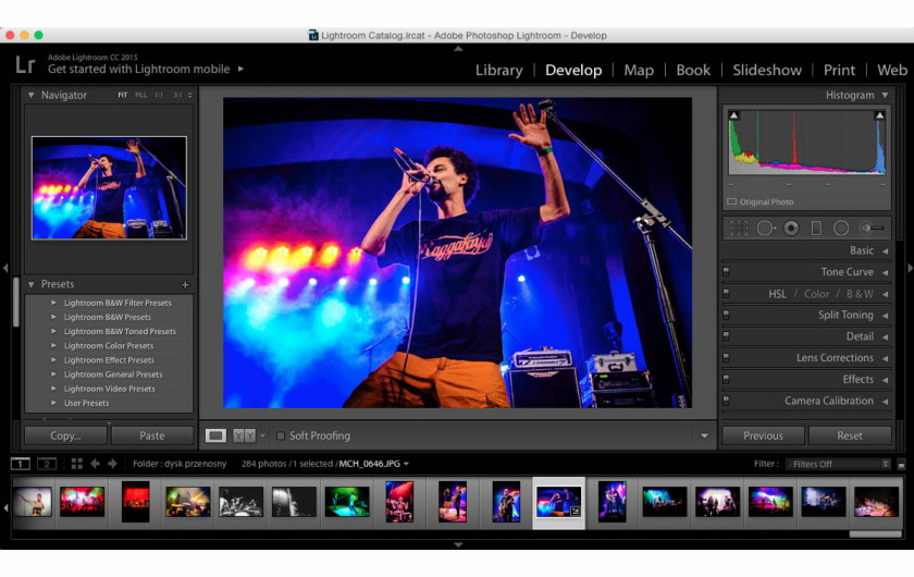 panel Develop programu Adobe Lightroom 6