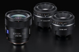 Sony DT 35 mm f/1,8 SAM, 85 mm f/2,8 SAM i Zeiss Distagon T* 24 mm f/2 ZA SSM